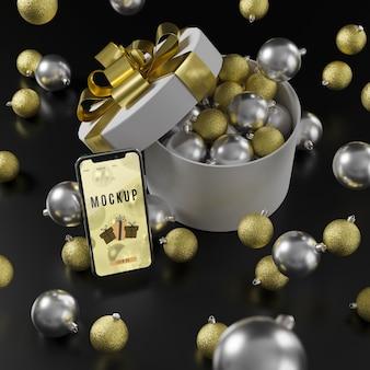 Sfondo di decorazioni natalizie con mock-up