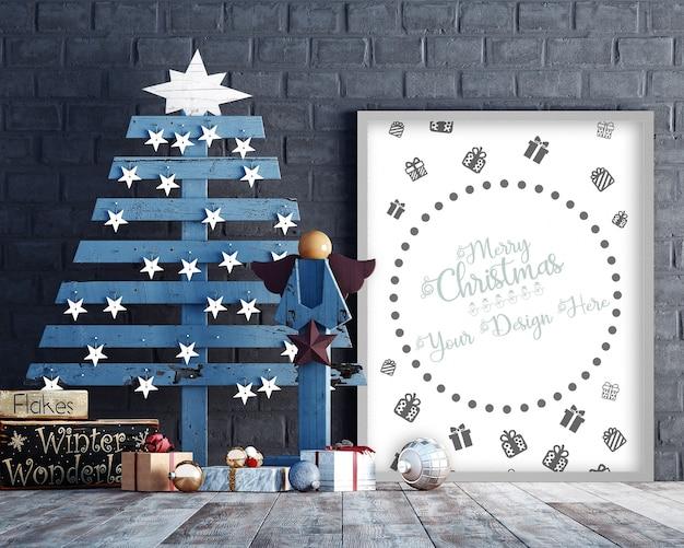Decorazioni natalizie con mockup di cornice, albero di natale e scatole regalo