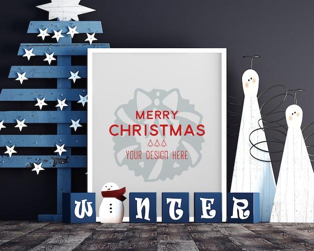Decorazione natalizia con mockup di cornice