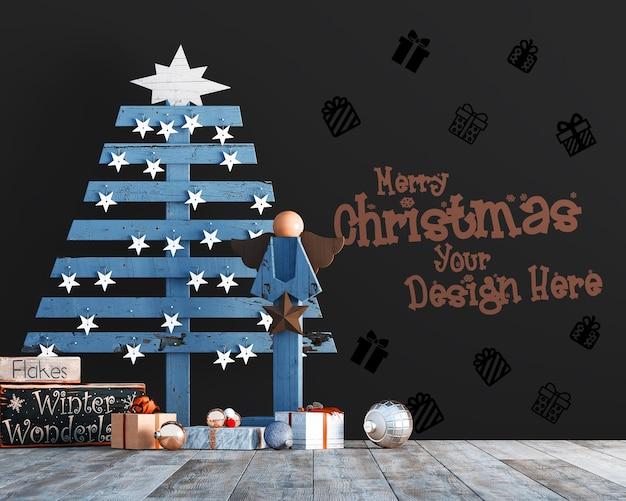 Decorazioni natalizie con pino stilizzato e mockup di carta da parati