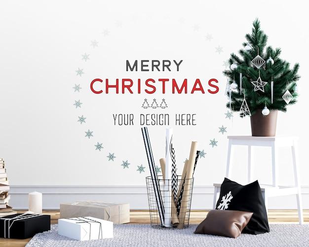 Decorazione natalizia con mockup a parete