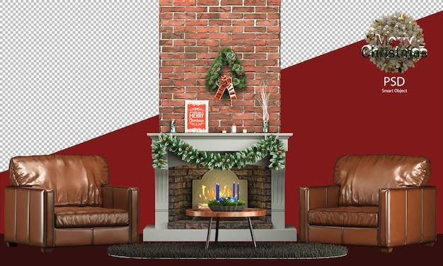 Decorazioni natalizie con mobili caldi e rustici e un accogliente divano, caminetto, tavolino da caffè, ciotola