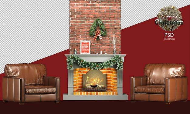 Decorazioni natalizie con mobili caldi e rustici e un accogliente divano camino