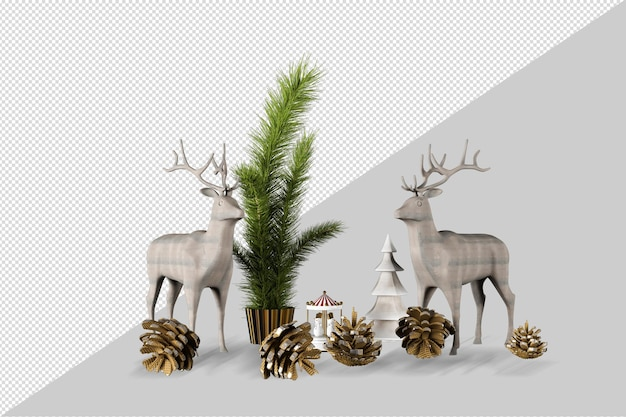 Natale decorativo in 3d reso isolato
