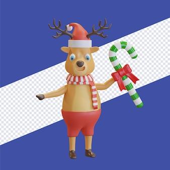 Il cervo di natale che indossa il cappello di babbo natale con la sciarpa rossa che tiene il bastoncino di zucchero di natale 3d rende l'illustrazione