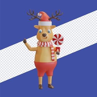 Il cervo di natale che indossa il cappello di babbo natale con la sciarpa rossa che tiene la caramella lecca-lecca 3d rende l'illustrazione