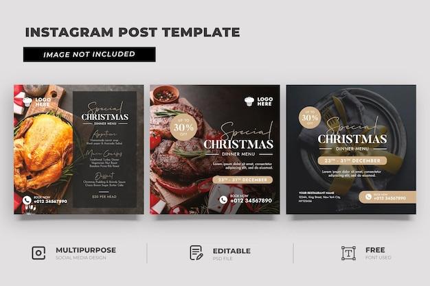Modello di post sui social media per la promozione della cena di natale