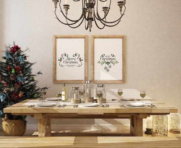 Sala da pranzo di natale con cornice per poster mockup e albero di natale