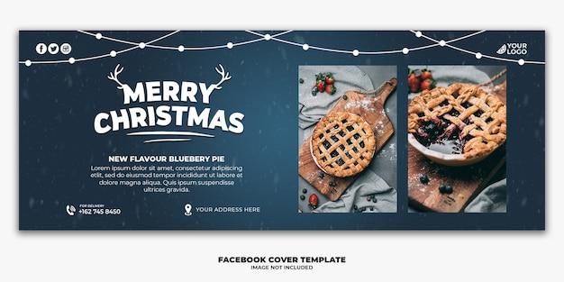 Modello di banner di copertina di facebook di natale per torta di menu di cibo del ristorante