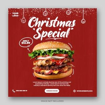 Modello di post sui social media del menu di fast food di natale con doodle