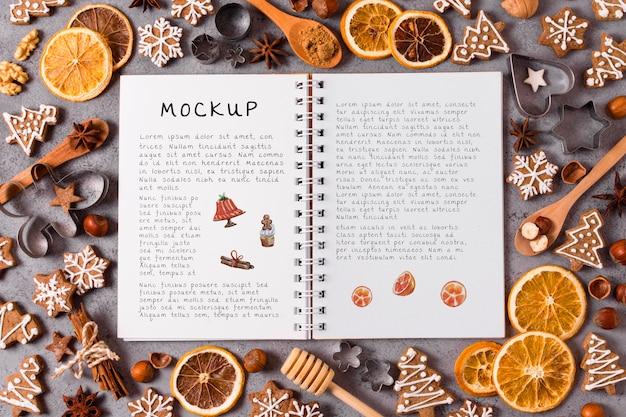 Mock-up di concetto di cibo di natale