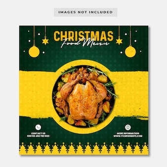Modello di banner instagram di social media per menu di cibo di natale