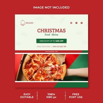 Modello di post sui social media del menu del ristorante di cibo di natale