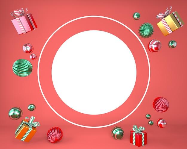 Cornice di natale fatta di decorazioni festive e scatole regalo in rendering 3d