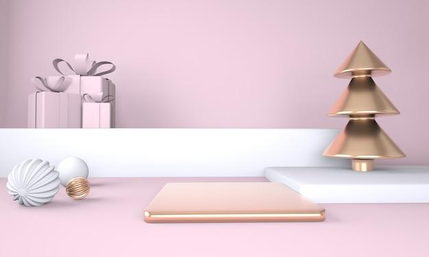 Cornice di natale fatta di decorazioni festive, scatole regalo natale in rendering 3d
