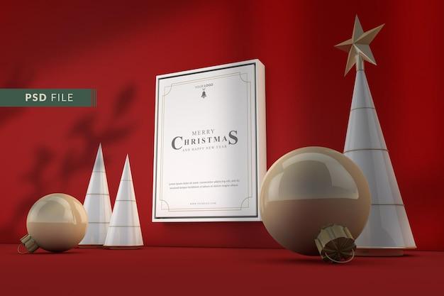 Mockup di cornice natalizia e decorazioni natalizie di lusso