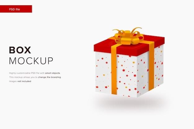 Mockup di scatola regalo di natale in mockup di stile di design moderno