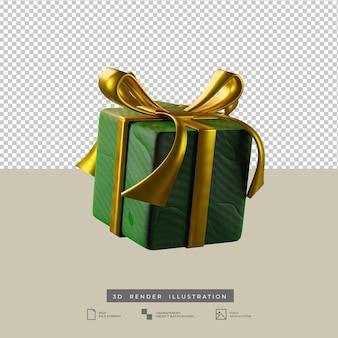 Scatola regalo verde di natale con illustrazione 3d in stile argilla fiocco d'oro isolata