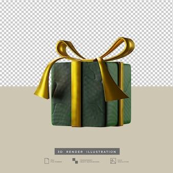 Confezione regalo verde natalizia con illustrazione 3d in stile argilla fiocco d'oro