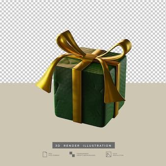 Scatola regalo verde di natale con illustrazione 3d di vista laterale in stile argilla fiocco d'oro