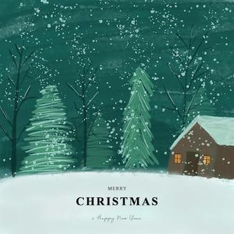 Biglietto di auguri di natale con sfondo paesaggio nevicata stile acquerello
