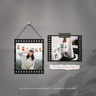 Mockup di cornici per foto di auguri di natale sui social media post filmstrip