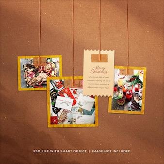Mockup di cornici di carta per foto da appendere sui social media di auguri di natale
