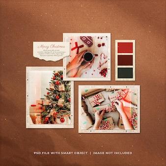 Mockup di cornici di carta per foto post sui social media di auguri di natale
