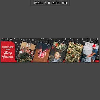 Modello di banner di natale e felice anno nuovo e foto