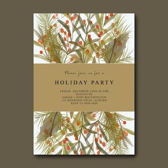 Biglietto d'invito per la festa di natale con foglie di natale ad acquerello