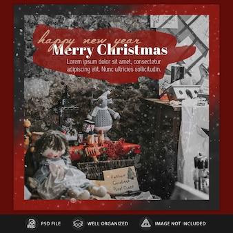 Natale instagram post card o modello di banner