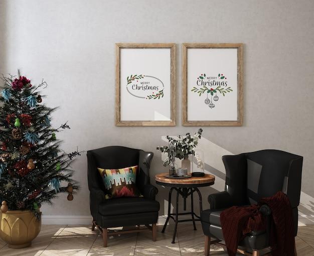 Soggiorno di natale con cornice per poster mockup e albero di natale