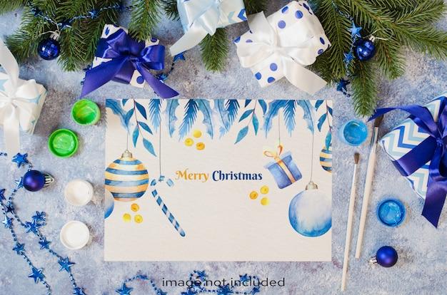 Natale mock up per biglietto di auguri o lettera a babbo natale in colore blu.
