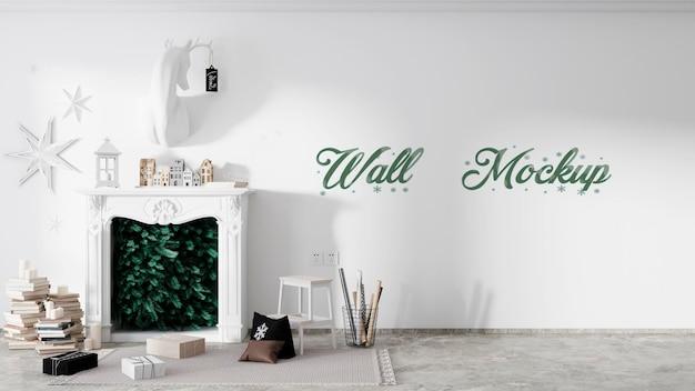 Mockup di muro di natale capodanno con camino di decorazioni natalizie psd premium