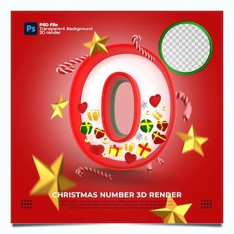 Christmas number 0 3d render con colori ed elementi rosso oro verde