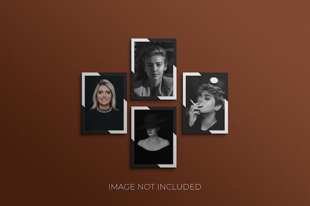 Mockup di foto con cornice di carta natalizia psd premium