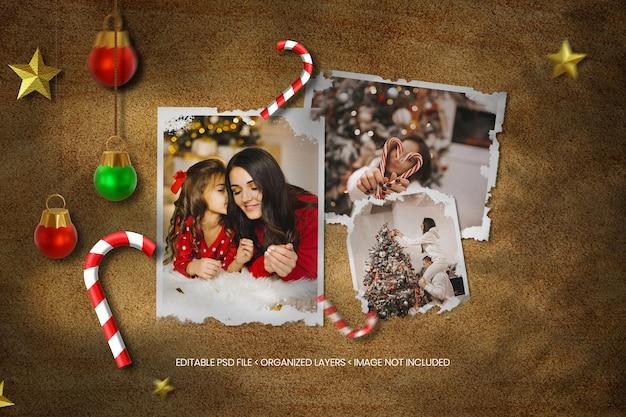 Mockup di cornice per foto di carta natalizia con carta strappata e sovrapposizione di ombre