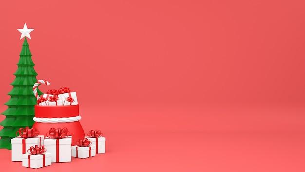 Decorazione di scatola regalo mockup pastello di natale