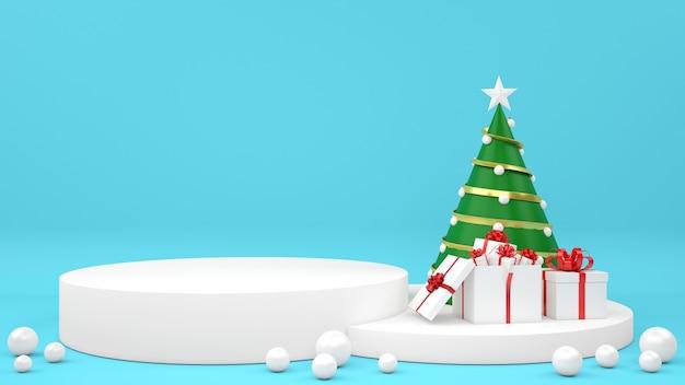 Esposizione del podio del mockup pastello di natale del pupazzo di neve giftbox Psd Premium