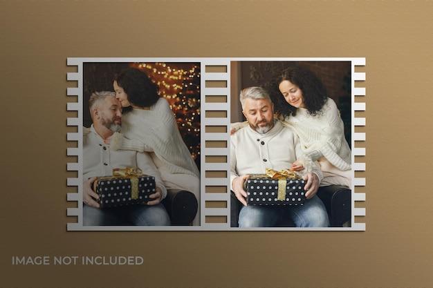 Mockup di cornici per foto natalizie psd premium