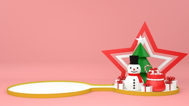 Podio di natale con piedistallo pupazzo di neve e regali