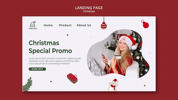 Modello di pagina di destinazione del negozio di regali di natale