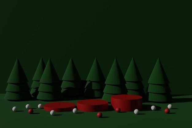 Esposizione del prodotto di natale con scena del podio di rendering 3d