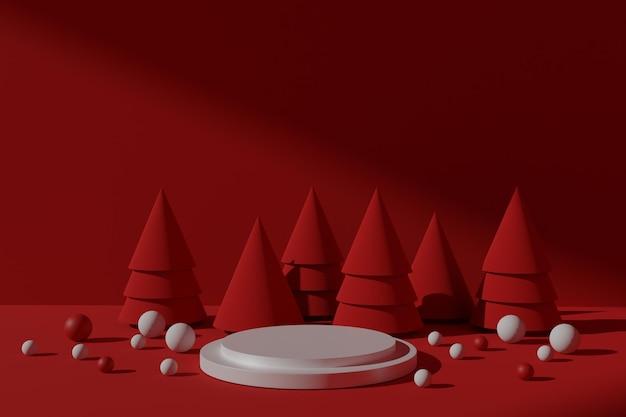 Esposizione di prodotti natalizi con podio di rendering 3d
