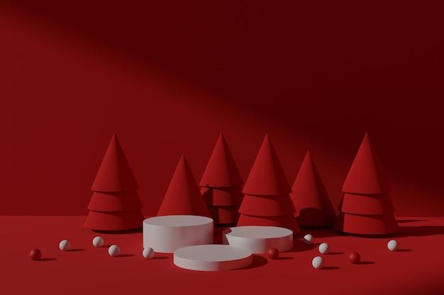 Esposizione di prodotti natalizi con podio renderizzato in 3d