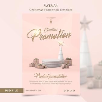 Promozione natalizia per volantino di presentazione del prodotto modello a4