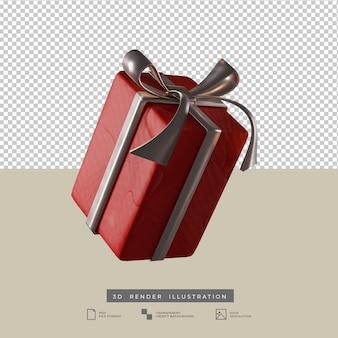 Scatola regalo rossa di natale con l'illustrazione 3d di stile dell'argilla dell'arco d'argento isolata