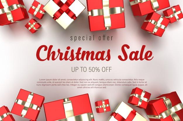 Modello di banner di vendita di natale con molti regali in alto e in basso