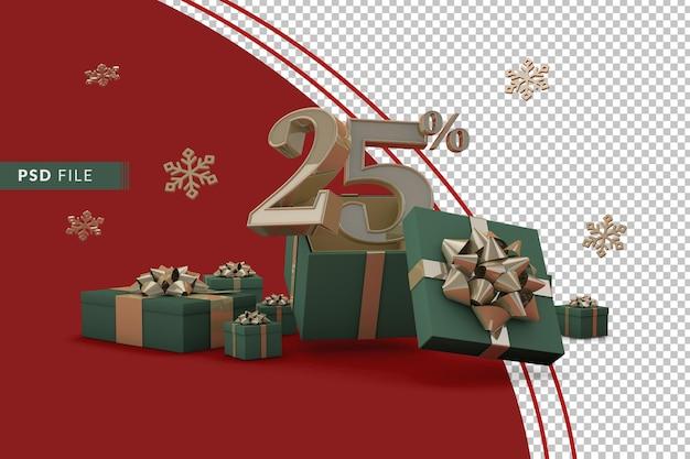 Concetto di vendita di natale con il 25% di sconto sulle confezioni regalo promozionali