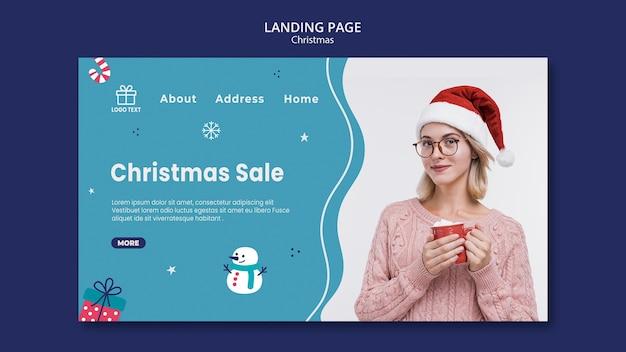 Modello di pagina di destinazione di vendita di natale Psd Premium